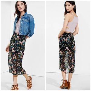 Express Garden Floral Print Front Slit Midi Skirt